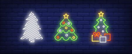 Christmas tree set in neon style. New Year, Christmas, garland. Night bright advertisement. Vector illustration in neon style for banner, billboard