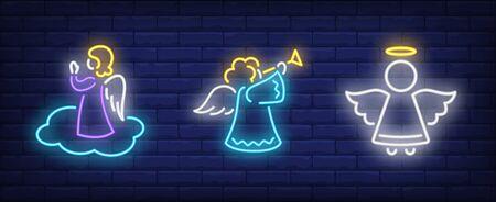 Praying angel neon sign set. Religion, heaven, aureola. Night bright advertisement. Vector illustration in neon style for banner, billboard