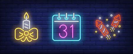 Christmas symbol neon sign set. New Year, calendar, firework. Night bright advertisement. Vector illustration in neon style for banner, billboard Illustration