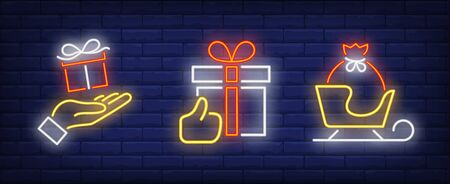 Christmas present neon sign set. Santa, New Year, presents. Night bright advertisement. Vector illustration in neon style for banner, billboard