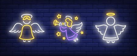 Angel playing flute neon sign set. Religion, heaven, aureola. Night bright advertisement. Vector illustration in neon style for banner, billboard