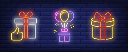 Present box neon sign collection. Surprise, holiday, balloon. Night bright advertisement. Vector illustration in neon style for banner, billboard
