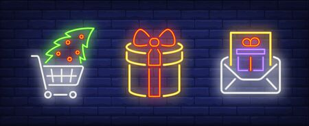 Christmas present neon sign collection. Santa, New Year, presents. Night bright advertisement. Vector illustration in neon style for banner, billboard Illustration
