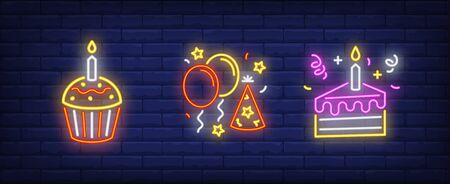 Birthday party neon sign set. Cake with candles, air balloons, cupcake. Vector illustration in neon style for topics like festive event, anniversary, surprise