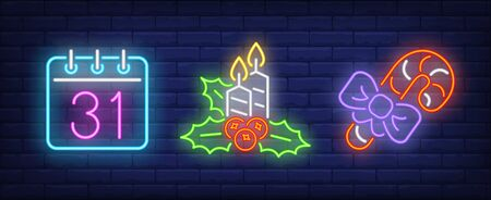 Christmas symbol collection in neon style. New Year, lollipop, fireplace. Night bright advertisement. Vector illustration in neon style for banner, billboard
