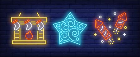 Christmas symbol set in neon style. New Year, lollipop, fireplace. Night bright advertisement. Vector illustration in neon style for banner, billboard