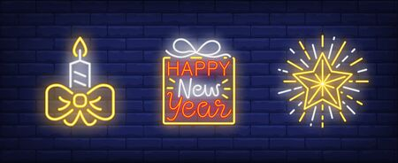 Happy New Year neon sign collection. New Year, Christmas, garland. Night bright advertisement. Vector illustration in neon style for banner, billboard