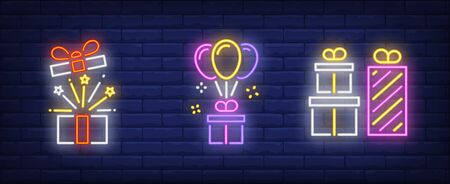 Present box neon sign set. Surprise, holiday, balloon. Night bright advertisement. Vector illustration in neon style for banner, billboard