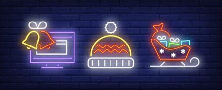 Xmas symbol neon sign set. Sledge, present, TV. Night bright advertisement. Vector illustration in neon style for banner, billboard Illustration