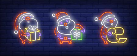 Merry Xmas neon sign collection. Santa, New Year, presents. Night bright advertisement. Vector illustration in neon style for banner, billboard