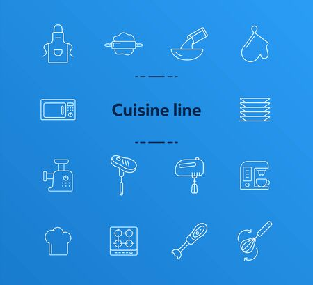 Cuisine line icons. Set of line icons. Pinafore, microwave oven, blender. Culinary concept. Vector illustration can be used for topics like restaurant business, cooking Stock Illustratie