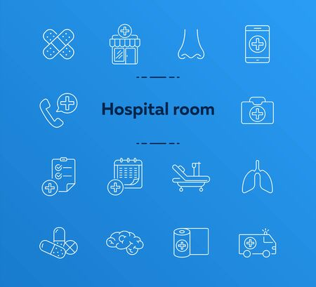 Hospital room icons. Set of line icons. Ambulance car, bandage, adhesive plaster. Clinic concept. Vector illustration can be used for topics like medicine, healthcare, medical help
