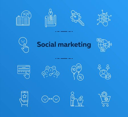 Social marketing icons. Set of line icons. Open book, balloons with numbers. Marketing concept. Vector illustration can be used for topics like banking, business