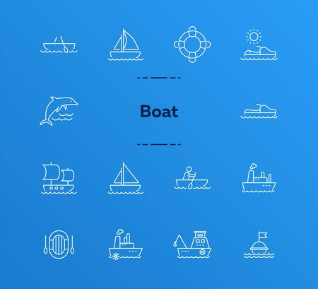 Boat line icon set. Sea transportation concept. Vector illustration can be used for topics like marine, transport, travel