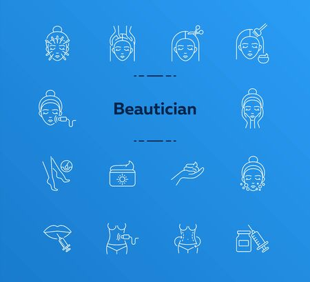Beautician line icon set. Female face, body weight, hair cutting. Beauty care concept. Can be used for topics like beauty salon, cosmetology, rejuvenation