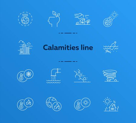 Calamities line icons. Set of line icons. Freezing, wastes in water, smog. Ecology concept. Vector illustration can be used for topics like environment protection, nature