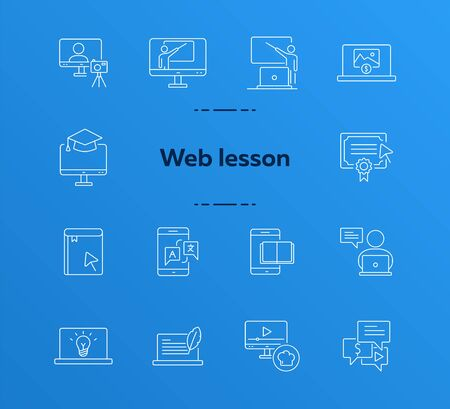 Web seminar line icon set. Lesson, smartphone, computer. Online education concept. Can be used for topics like self-development, tutorial, information