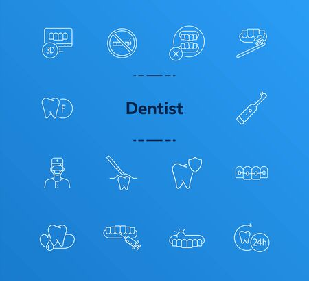 Dentist icons. Set of line icons. Doctor, tooth, pain. Medicine concept. Vector illustration can be used for topics like stomatology, treatment, patient