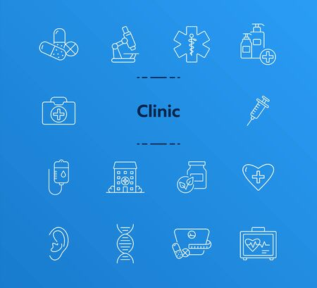 Clinical hospital icons. Set of line icons. Medical kit, dieting pills, infusion. Hospital care concept. Vector illustration can be used for topics like healthcare, medicine, treatment