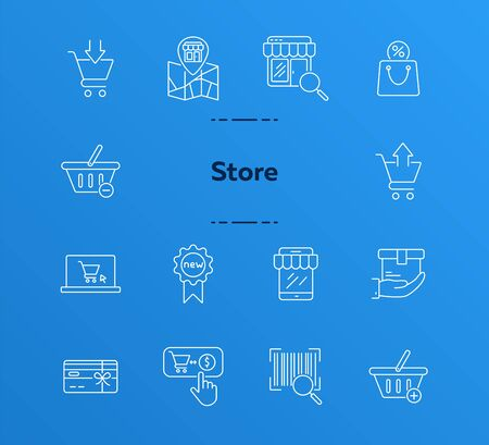 Store line icon set. Cart, order, checkout. Shopping concept. Can be used for topics like online shop, supermarket, retail Illustration
