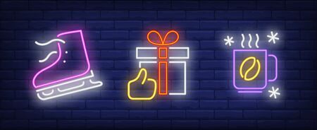 Xmas symbol in neon style set. Skate, gift box, hot coffee. Night bright advertisement. Vector illustration in neon style for banner, billboard