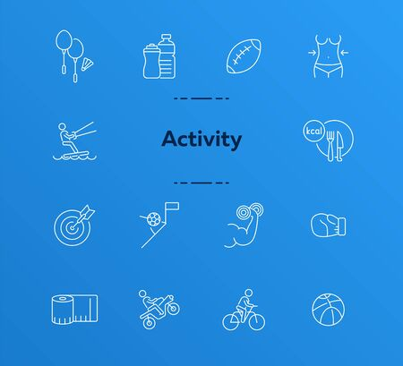 Activity line icon set. Cycling, game, slimming. Exercising concept. Can be used for topics like sport, physical activity, active lifestyle