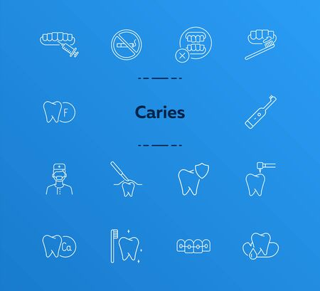 Caries icons. Set of line icons. Dentist, tooth, pain. Medicine concept. Vector illustration can be used for topics like stomatology, treatment, patient 일러스트