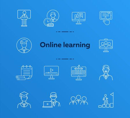 Online course line icon set. Pupil, class, service, subject. Distant education concept Can be used for topics like higher education, college, degree