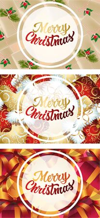 Merry Christmas banner set on different ground. Decorative design can be used for invitations, post cards, announcements