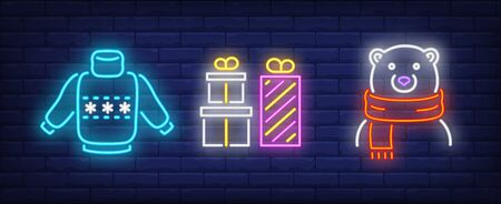 Christmas symbol in neon style set. Sweater, gift boxes, bear in scarf. Night bright advertisement. Vector illustration in neon style for banner, billboard