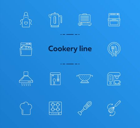 Cookery line icons. Set of line icons. Cookery book, fridge, electric kettle. Culinary concept. Vector illustration can be used for topics like restaurant business, cooking Stock Illustratie