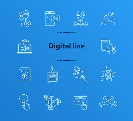 Digital line icons. Set of line icons. Mobile with envelope, planet network. Technology concept. Vector illustration can be used for topics like banking, business 일러스트