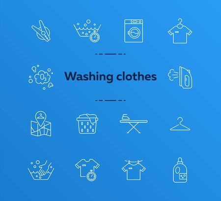 Washing clothes line icon set. Drying, textile, bleaching. Laundry concept. Can be used for topics like housework, laundromat, service