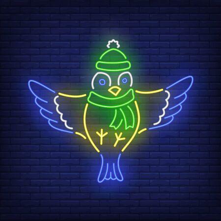 Winter tit neon sign. Bird, tit, winter. Night bright advertisement. Vector illustration in neon style for banner, billboard