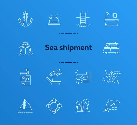 Sea tour line icon set. Cruise liner, towel, bath, dolphin. Summer vacation concept. Can be used for topics like travel, trip, activities