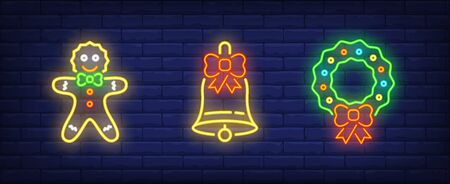 Christmas symbol neon sign collection. Gingerbread man, Christmas wreath, bell, New Year cap. Night bright advertisement. Vector illustration in neon style for banner, billboard