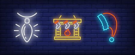 Xmas decoration in neon style set. Garland, fireplace, New Year cap. Night bright advertisement. Vector illustration in neon style for banner, billboard