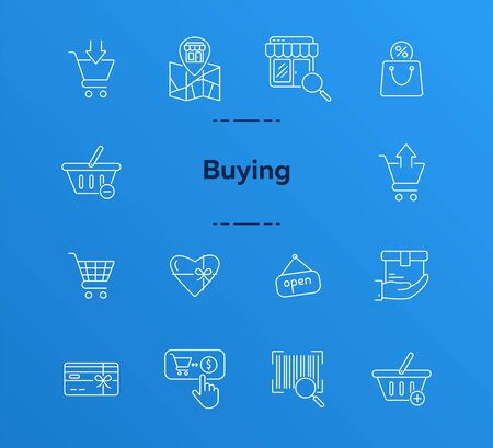 Buying line icon set. Purchase, cart, store. Online shopping. concept. Can be used for topics like service, supermarket, sale