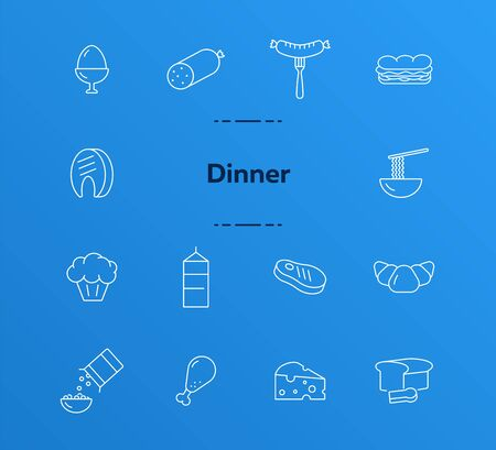 Dinner line icon set. Fast food, breakfast, meat. Eating concept. Can be used for topics like cooking, grocery, supermarket