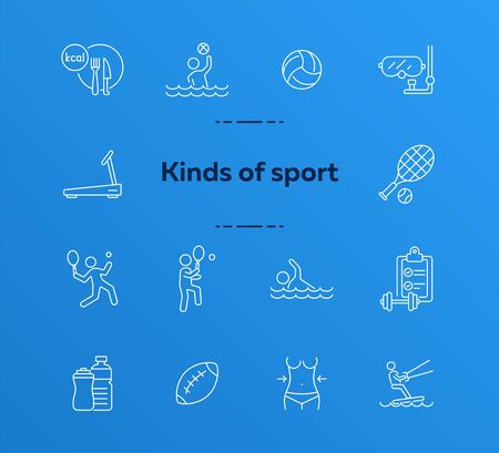 Kinds of sport line icon set. Tennis, activity, water sport. Healthy lifestyle concept. Can be used for topics like recreation, exercising, wellness