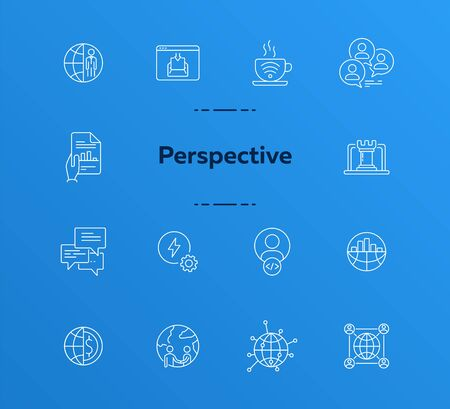 Perspective line icon set. Circles, globe, networking, connection. Business concept. Can be used for topics like global communication, marketing, international partnership