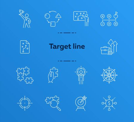 Targeting icon set. Line icons collection on white background. Strategy, achievement, success. Development concept. Can be used for topics like gamification, marketing, optimization
