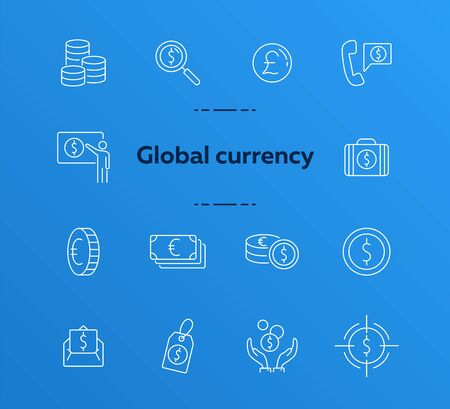 Global currency icon set. Dollar, cash, tax. Finances concept. Can be used for topics like converting money, trade, economy Иллюстрация