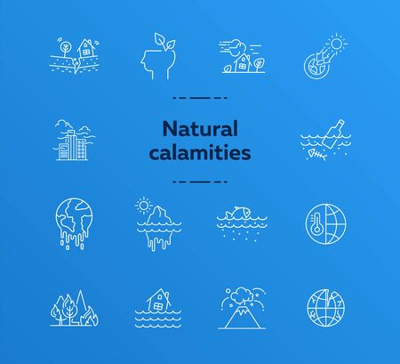 Natural calamities icons. Set of line icons. Forest fire, earthquake, melting glacier. Ecology concept. Vector illustration can be used for topics like environment protection, nature Ilustracja