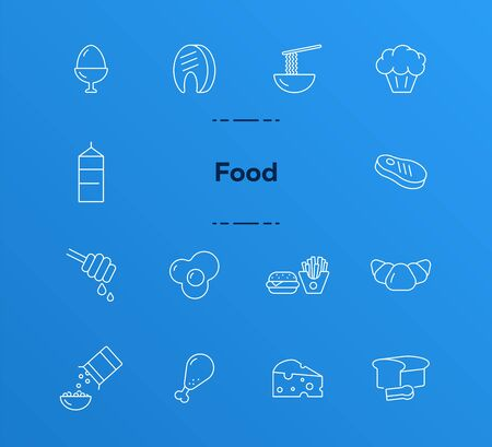 Food line icon set. Meat, bread, fast food. Lunch concept. Can be used for topics like protein, healthy eating, nutrition