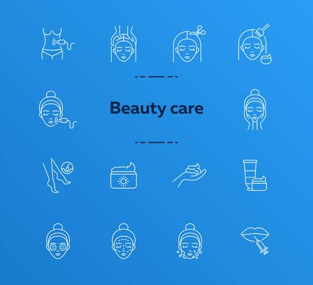 Beauty care line icon set. Woman, cream, hairdressing. Beautician concept. Can be used for topics like beauty salon, self care, rejuvenation