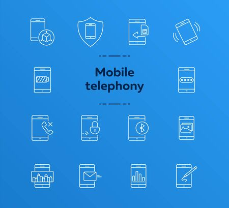 Mobile telephony icons. Set of line icons. Mobile analytics, design app, drawing app. Mobile software concept. Vector illustration can be used for topics like technology, applications, communication