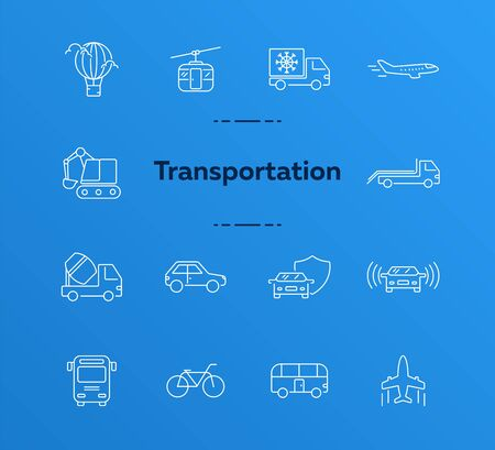Transport line icon set. Van, car, airplane, helicopter, bus. Transport concept. Can be used for topics like vehicle, delivery, traffic