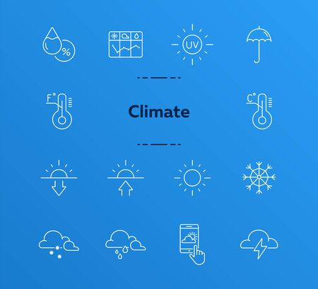 Climate icon set. Temperature, sun, sunshine. Summer concept. Can be used for topics like weather, meteorology, precipitation Illustration