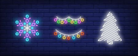 New Year decoration neon sign collection. Snowflake, garland, Christmas tree. Night bright advertisement. Vector illustration in neon style for banner, billboard